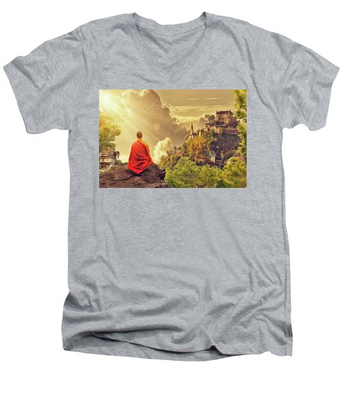 Men's V-Neck T-Shirt featuring the painting Shangri La by Harry Warrick