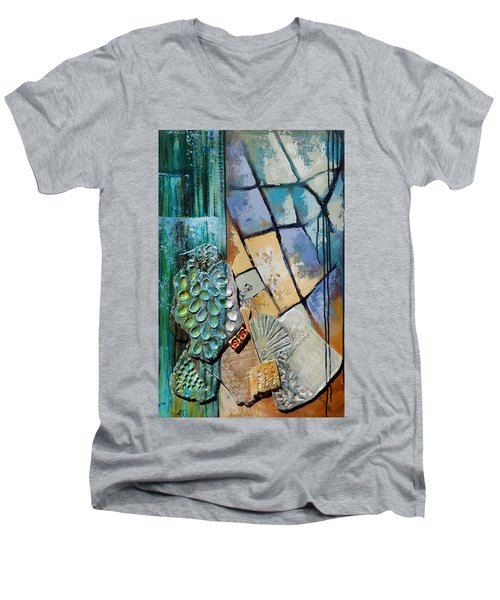 Men's V-Neck T-Shirt featuring the painting Shards Water Clay And Fire by Suzanne McKee