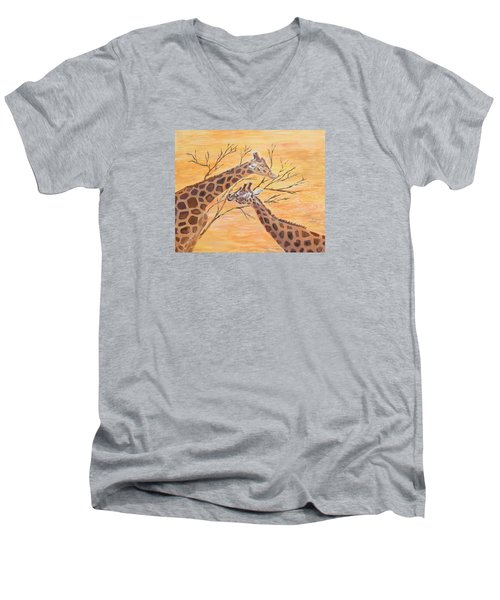 Men's V-Neck T-Shirt featuring the painting Sharing by Elizabeth Lock