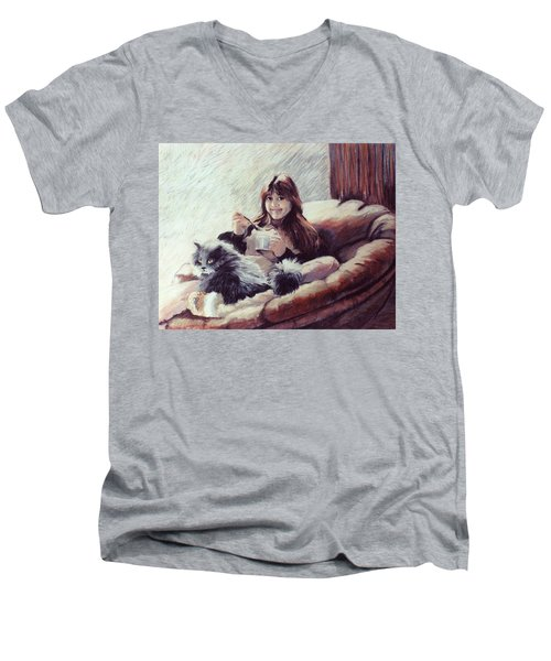 Sharing Ice Cream Men's V-Neck T-Shirt