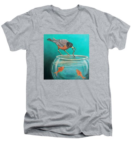 Men's V-Neck T-Shirt featuring the painting Sharing by Susan DeLain