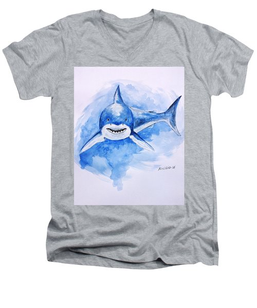 Men's V-Neck T-Shirt featuring the painting Shark by Edwin Alverio