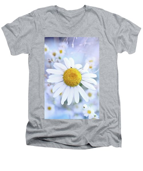 Shasta Daisy Men's V-Neck T-Shirt by Stephanie Frey