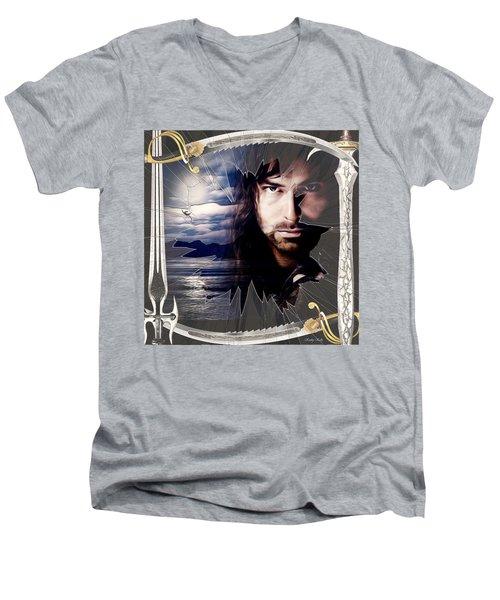 Shattered Kili With Swords Men's V-Neck T-Shirt