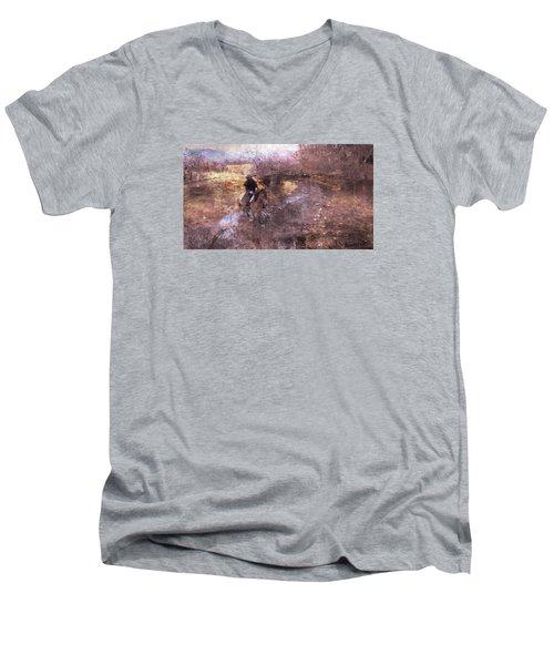 She Rides A Mustang-wrangler In The Rain II Men's V-Neck T-Shirt