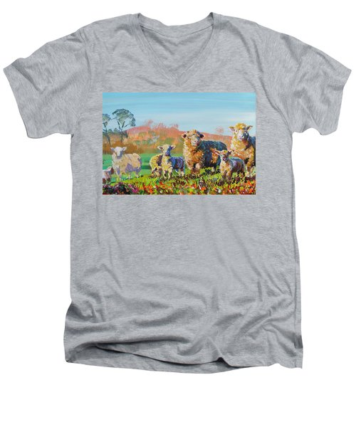 Sheep And Lambs In Devon Landscape Bright Colors Men's V-Neck T-Shirt