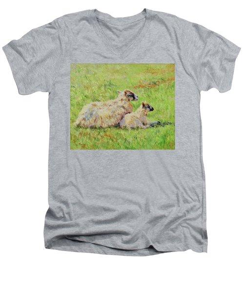 Sheep In The Spring Time,la Vie Est Belle Men's V-Neck T-Shirt