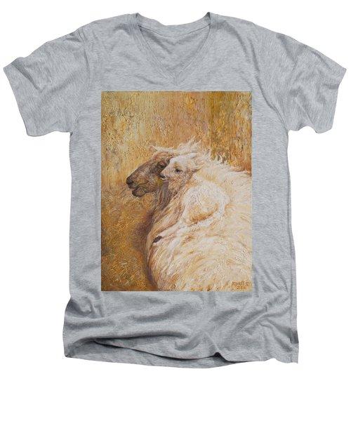 Sheep With A New Born Lamb Men's V-Neck T-Shirt