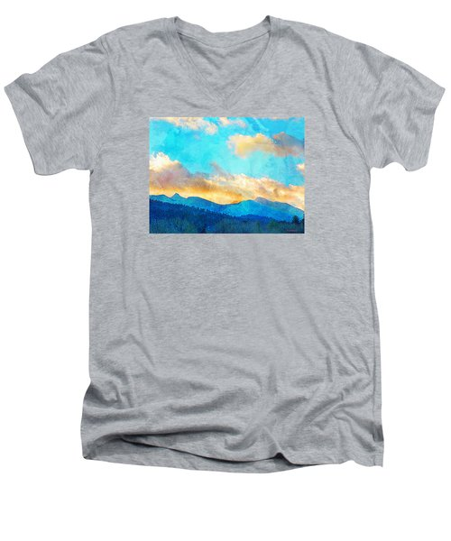 Sheeps Head And Truchas Peaks-predawn December Men's V-Neck T-Shirt by Anastasia Savage Ealy