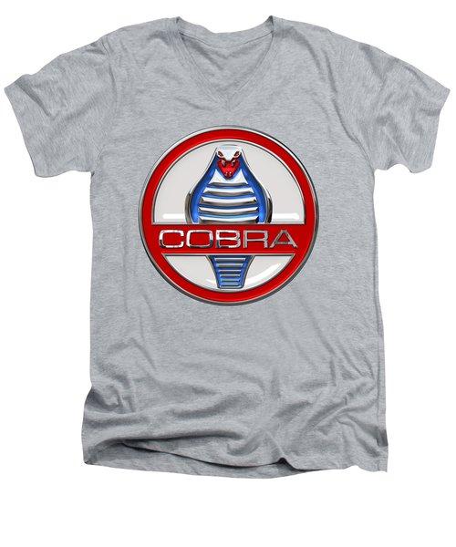 Shelby Ac Cobra - Original 3d Badge On Blue And White Men's V-Neck T-Shirt