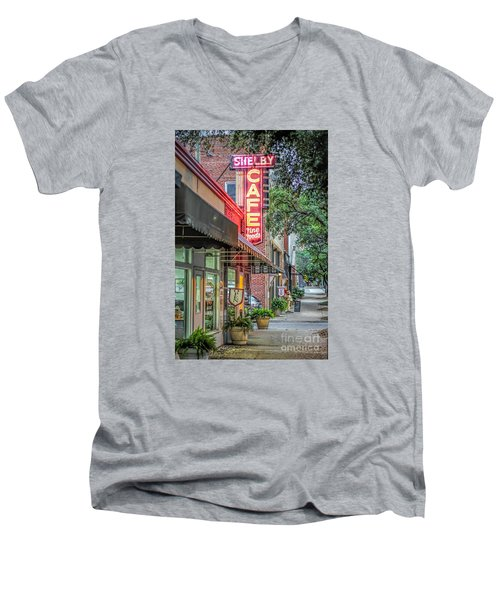 Shelby Cafe Men's V-Neck T-Shirt by Marion Johnson