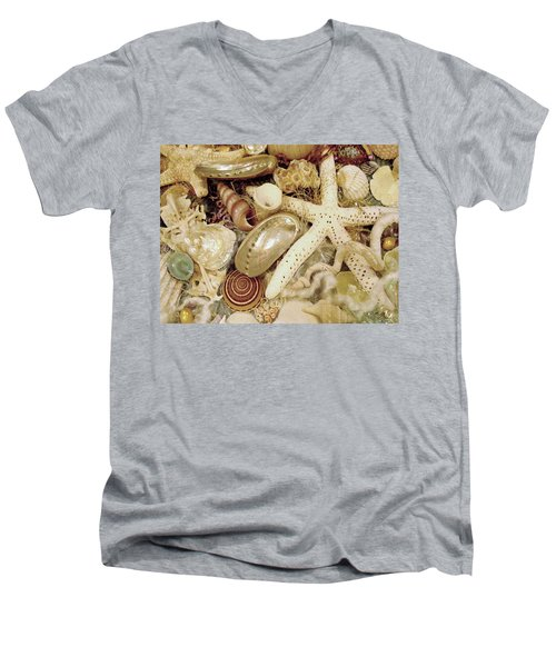 Men's V-Neck T-Shirt featuring the photograph Shell Collection by Rosalie Scanlon