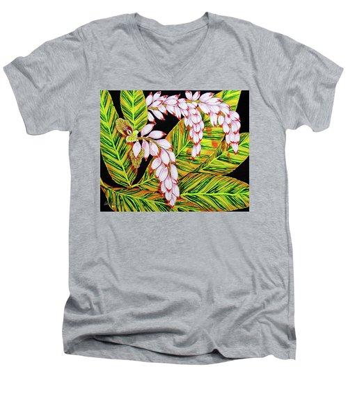Shell Ginger Flowers Men's V-Neck T-Shirt