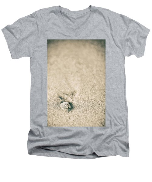 Men's V-Neck T-Shirt featuring the photograph Shell On Beach Alabama  by John McGraw