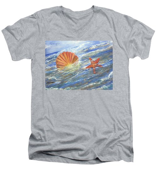 Shell Star  Men's V-Neck T-Shirt
