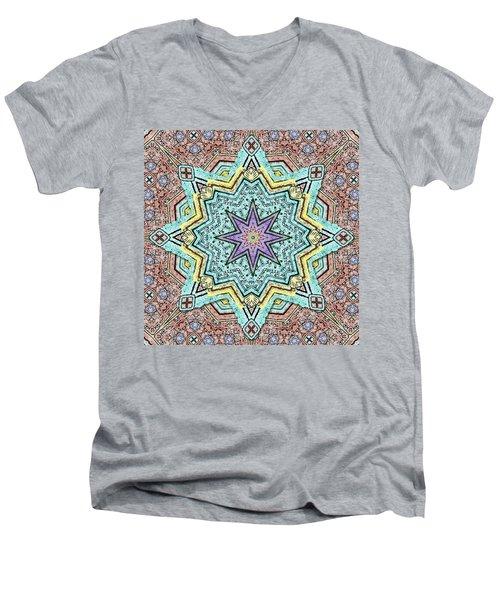 Shell Star Mandala Men's V-Neck T-Shirt by Deborah Smith