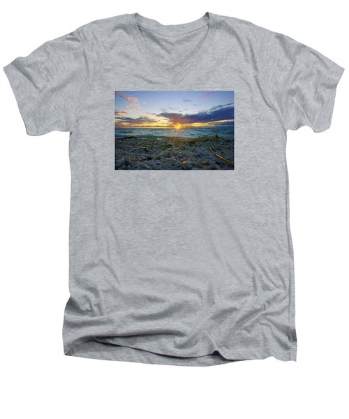 Men's V-Neck T-Shirt featuring the photograph Shells On The Beach At Sunset by Robb Stan