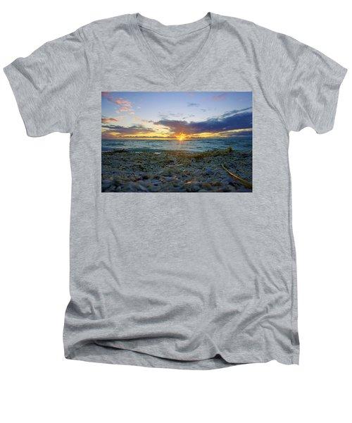 Shells On The Beach At Sunset Men's V-Neck T-Shirt