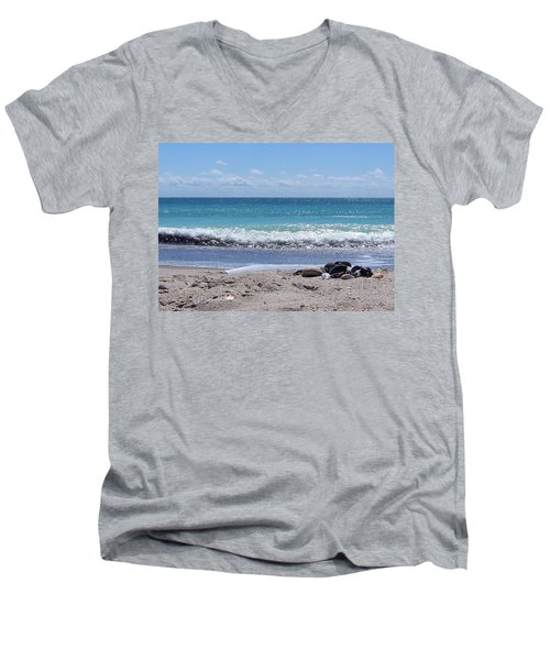Men's V-Neck T-Shirt featuring the photograph Shells On The Beach by Sandi OReilly