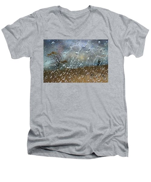 Shelter From The Storm Men's V-Neck T-Shirt by Ed Hall