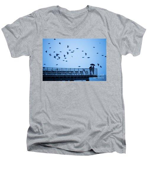 Sheltering Under An Umbrella Watching The Birds Men's V-Neck T-Shirt