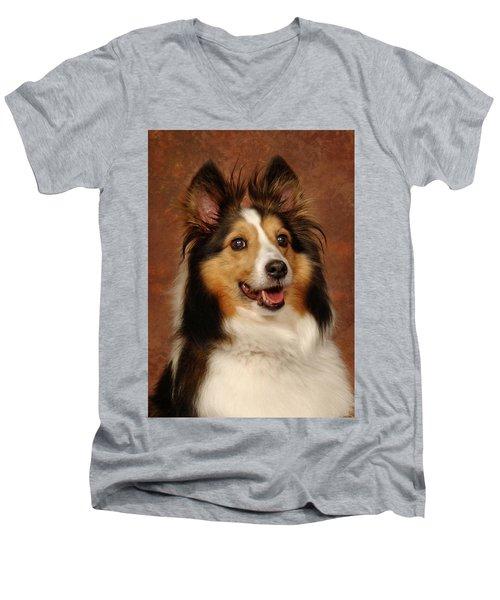 Sheltie Men's V-Neck T-Shirt by Greg Mimbs