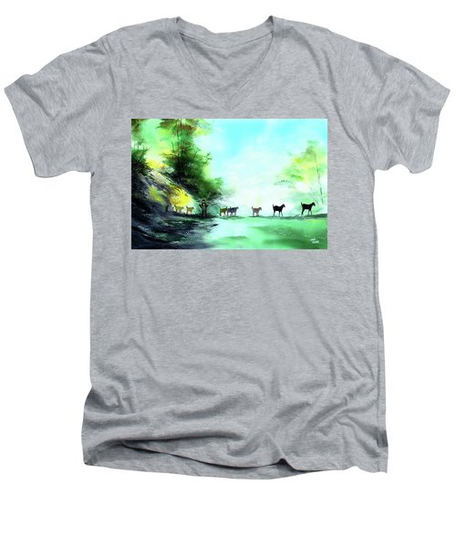 Men's V-Neck T-Shirt featuring the painting Shepherd by Anil Nene