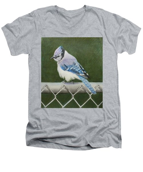 Men's V-Neck T-Shirt featuring the painting Sherrie's Bluejay by Constance DRESCHER