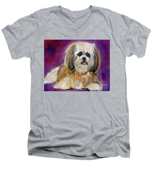 Shih-tzu Puppy Men's V-Neck T-Shirt by Jenny Lee