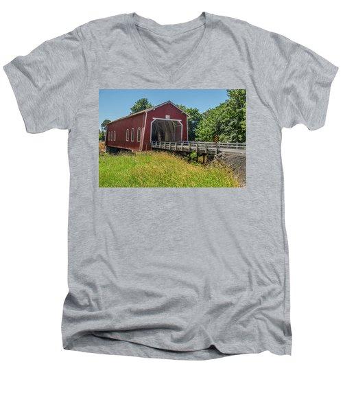 Shimanek Covered Bridge No. 2 Men's V-Neck T-Shirt