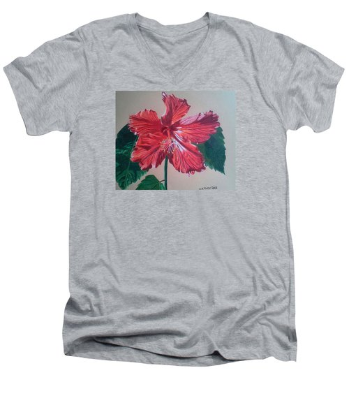 Shimmer - Red Hibiscus Men's V-Neck T-Shirt by Anita Putman