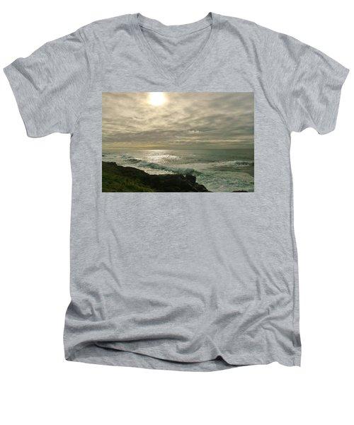 Shimmery  Light Men's V-Neck T-Shirt by Sheila Ping