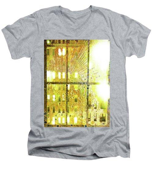 Men's V-Neck T-Shirt featuring the mixed media Shine A Light by Tony Rubino