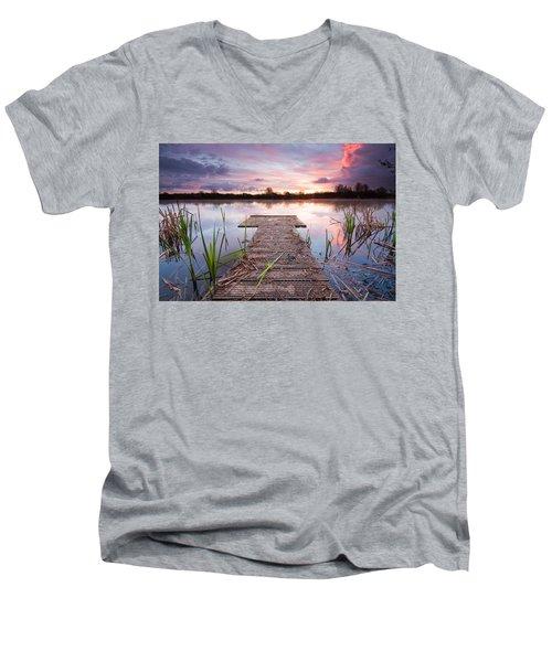 Shinewater Lake Sunrise Men's V-Neck T-Shirt