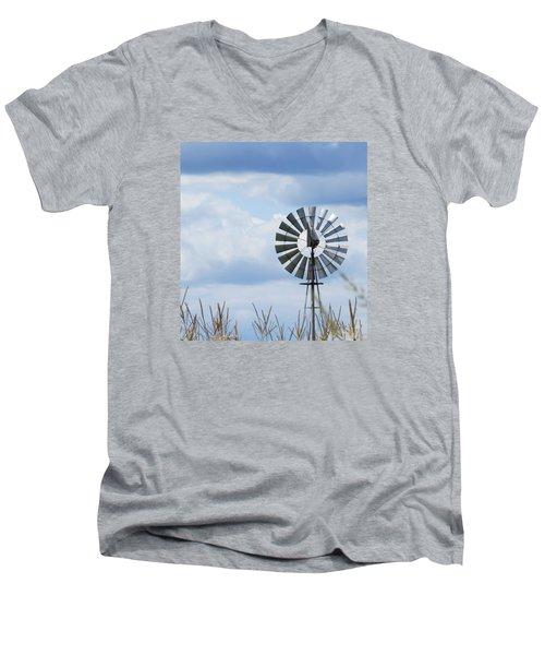 Shiny Windmill Men's V-Neck T-Shirt by Jeanette Oberholtzer
