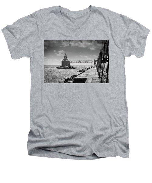Ship Canal North Pierhead Lighthouse II Men's V-Neck T-Shirt by Deborah Klubertanz