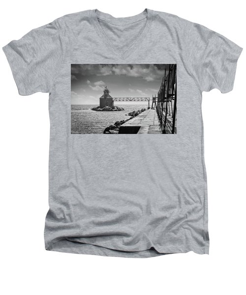 Ship Canal North Pierhead Lighthouse II Men's V-Neck T-Shirt