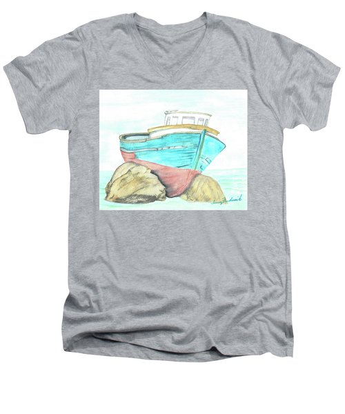 Ship Wreck Men's V-Neck T-Shirt by Terry Frederick
