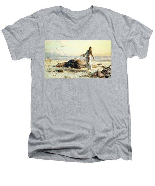 Shipwreck In The Desert Men's V-Neck T-Shirt by Carl Haag
