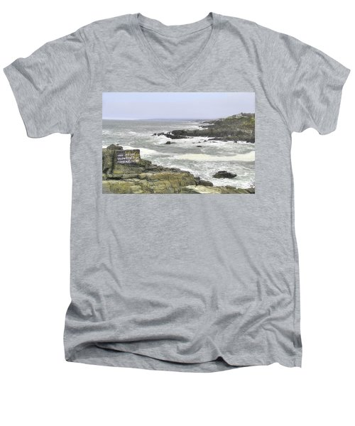 Men's V-Neck T-Shirt featuring the digital art Shipwrecked by Sharon Batdorf