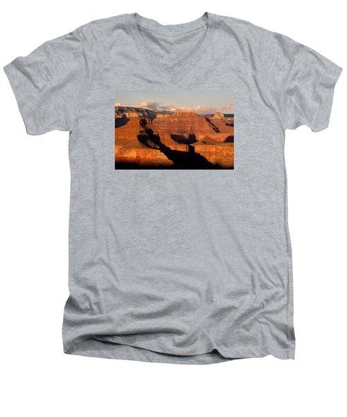 Shiva Temple  At Sunset Grand Canyon National Park Men's V-Neck T-Shirt