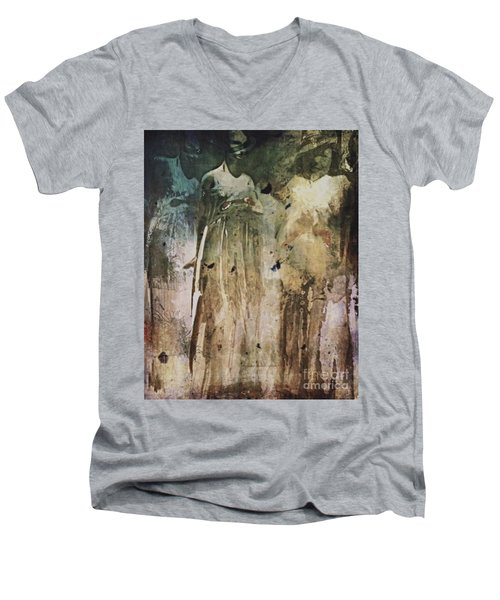 Men's V-Neck T-Shirt featuring the digital art Shop Window by Alexis Rotella