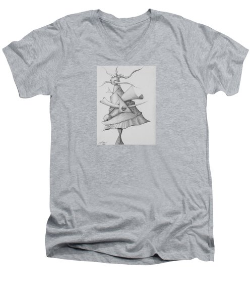 Men's V-Neck T-Shirt featuring the drawing Plasma Tree by Charles Bates