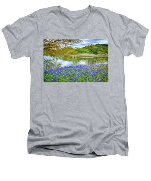 Shoreline Bluebonnets At Lake Travis Men's V-Neck T-Shirt