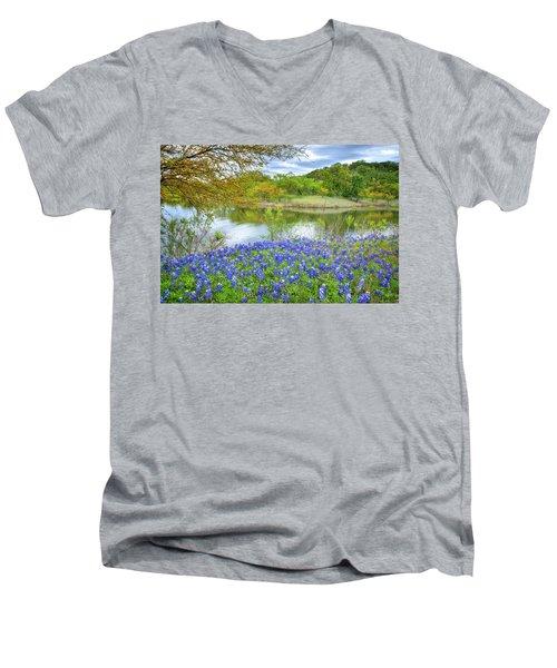 Shoreline Bluebonnets At Lake Travis Men's V-Neck T-Shirt