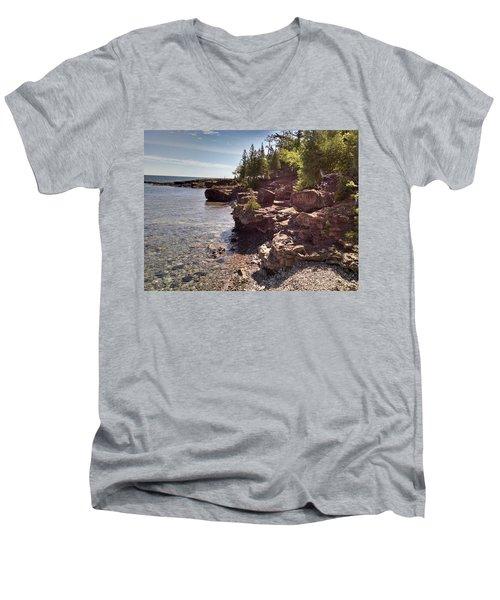 Shoreline In The Upper Michigan Men's V-Neck T-Shirt by Alan Casadei