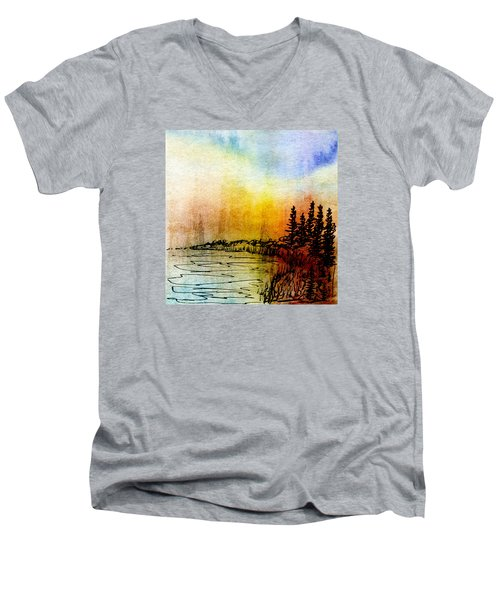 Shoreline Men's V-Neck T-Shirt by R Kyllo