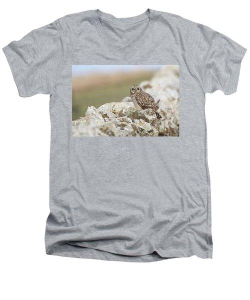Short-eared Owl In Cotswolds Men's V-Neck T-Shirt