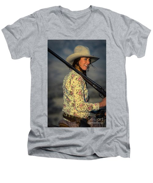 Shotgun Annie Western Art By Kaylyn Franks Men's V-Neck T-Shirt