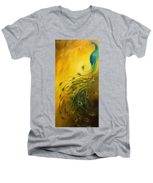 Show Off 1 Vertical Peacock Men's V-Neck T-Shirt by Dina Dargo